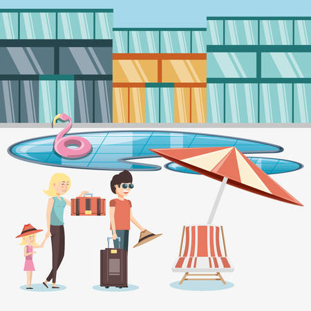 family vacations in pool vector illustration design
