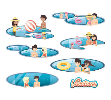 family vacations in pool vector illustration design Vetores