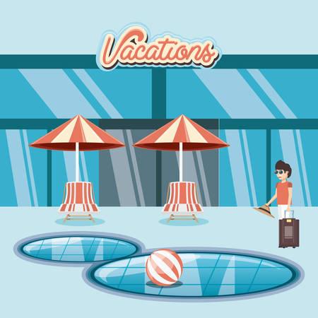 man in the pool scene vector illustration design Vektoros illusztráció