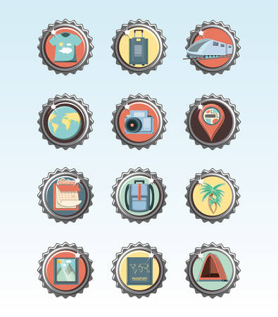 holidays vacations set icons icon vector ilustration