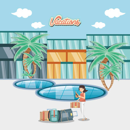 woman in the pool scene vector illustration design Vektoros illusztráció