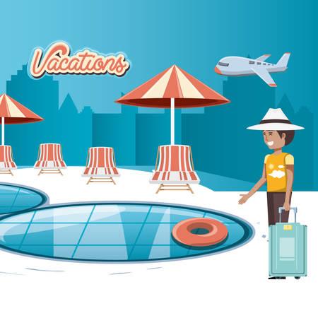 man in the pool scene vector illustration design