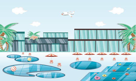 vacations place with pool scene vector illustration design 向量圖像
