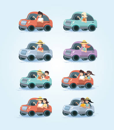 group of people in car vacations vector illustration design