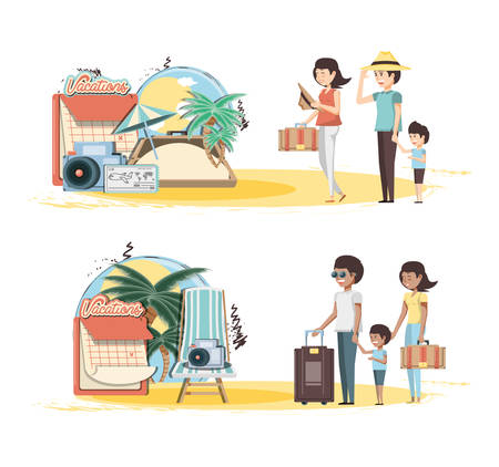 family vacations set icons vector illustration design