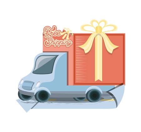 fast delivery service with truck vector illustration design Illustration