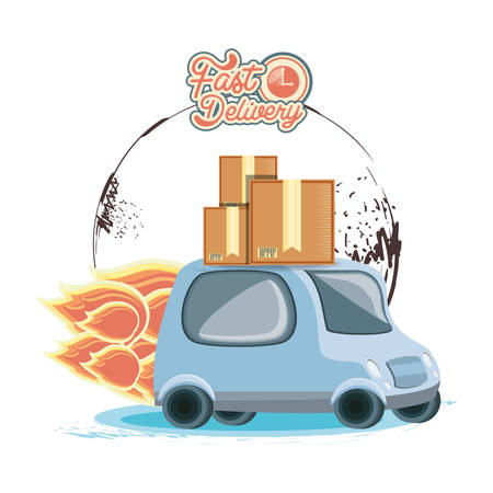 fast delivery service with van vector illustration design