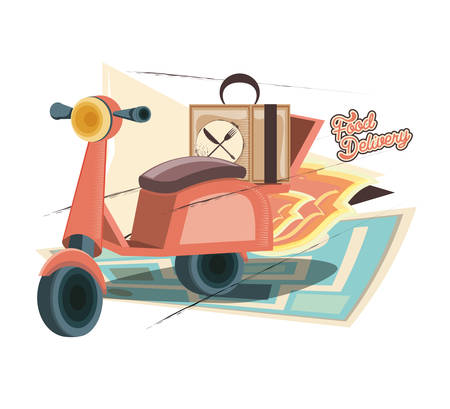 food delivery service with motorcycle vector illustration design