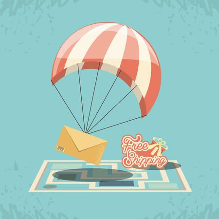 free shipping service with parachute vector illustration design Ilustración de vector