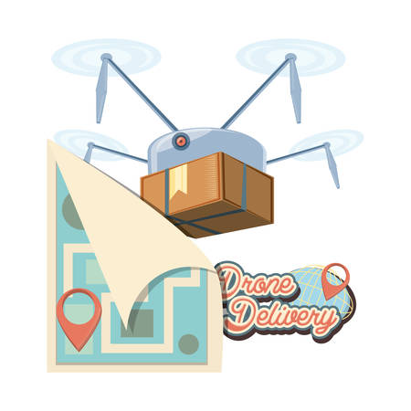 drone delivery service with paper map vector illustration design