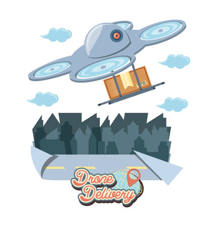 drone delivery service with box and cityscape vector illustration design Illustration