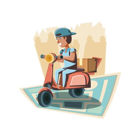 Servicio de entrega de mensajería en motocicleta, diseño de ilustraciones vectoriales