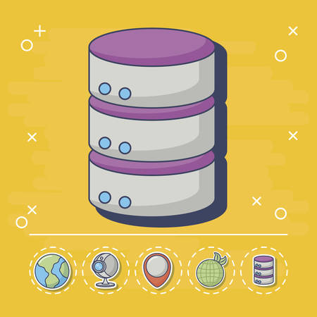 data server icon with innovation and technology related icons around over yellow background, colorful design. vector illustration