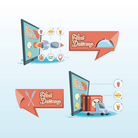 fast delivery service on line vector illustration design