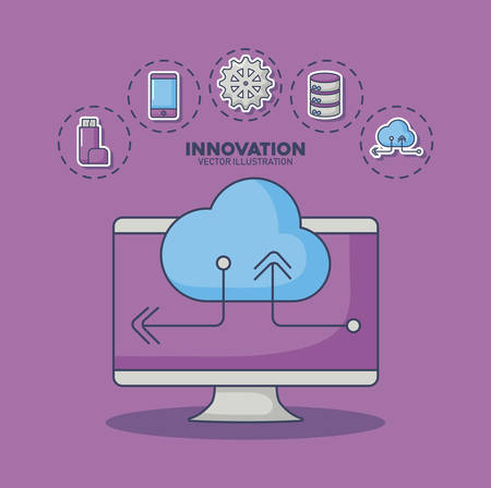 computer and cloud storage with innovation and technology related icons around over purple background, colorful design. vector illustration