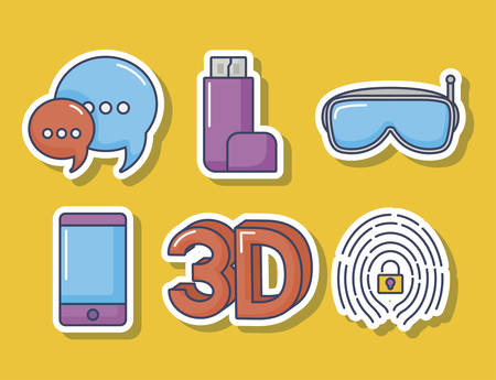 icon set of innovation and technology concept over yellow background, colorful design. vector illustration