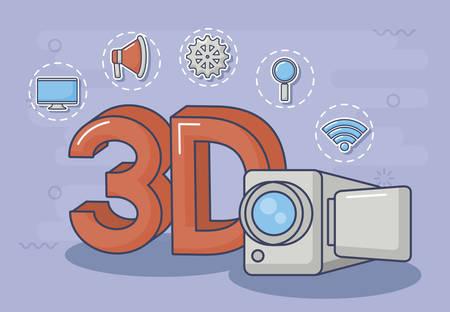 videocamera e simbolo 3D con le icone relative all'innovazione e alla tecnologia intorno su sfondo viola, design colorato. illustrazione vettoriale