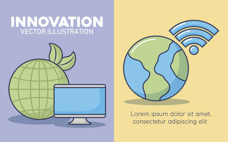 infographic presentation of innovation and technology concept with over colorful background, vector illustration icon set of innovation and technology concept over colorful circles and white background, vector illustration Иллюстрация