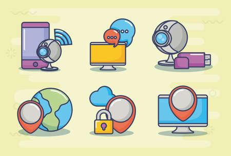 Conjunto de iconos de concepto de innovación y tecnología sobre fondo amarillo, diseño colorido. ilustración vectorial Foto de archivo