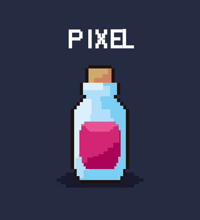 pixelated potion bottle icon over black background, vector illustration