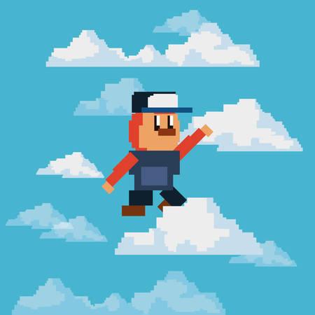 Diseño de videojuego pixelado con carácter de aventura sobre fondo de cielo, diseño colorido. ilustración vectorial