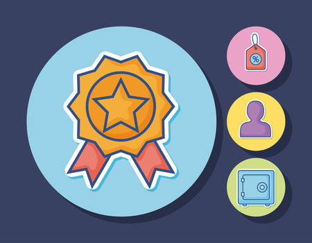 medal with digital marketing related icons around over colorful circles and blue background, illustration