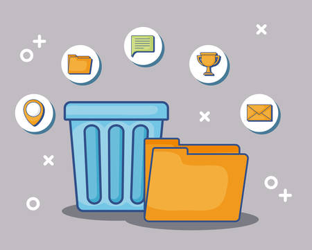 trash bucket and folder with digital marketing related icons around over gray  background, colorful design. vector illustration Ilustrace