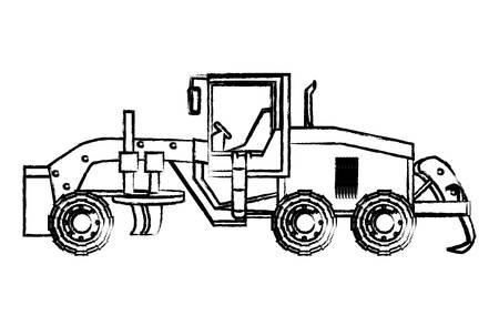 icône de camion niveleuse sur fond blanc, illustration vectorielle