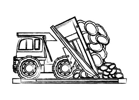 dump truck unloading rocks over white background, vector illustration Vectores