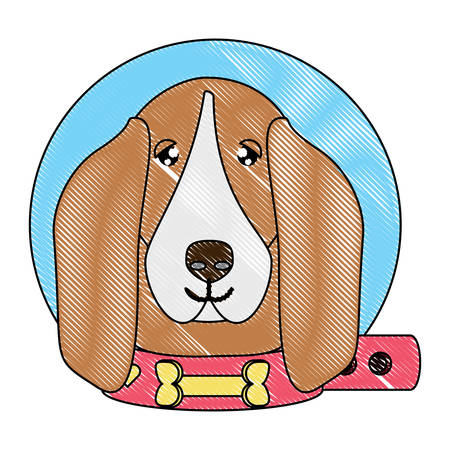 cute basset hound dog with collar over white background, vector illustration Vector Illustration
