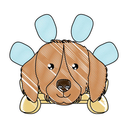 emblem with cute golden retriever and bone over white background, vector illustration Illustration