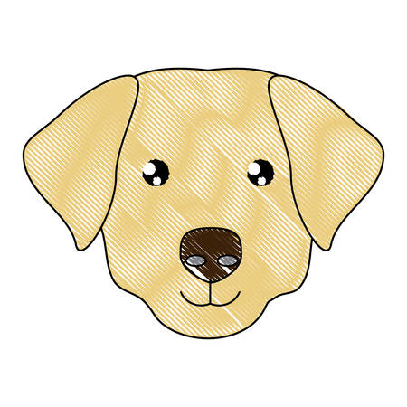 cute labrador icon over white background, vector illustration