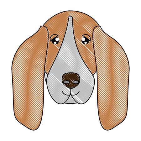 Simpatico cane basset hound icona su sfondo bianco, illustrazione vettoriale