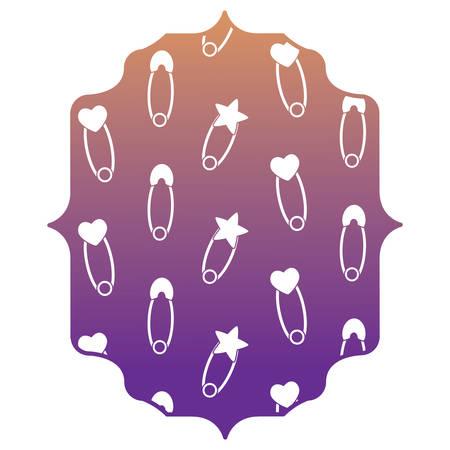 Marco árabe con patrón de alfileres de bebé sobre fondo blanco, diseño colorido. ilustración vectorial