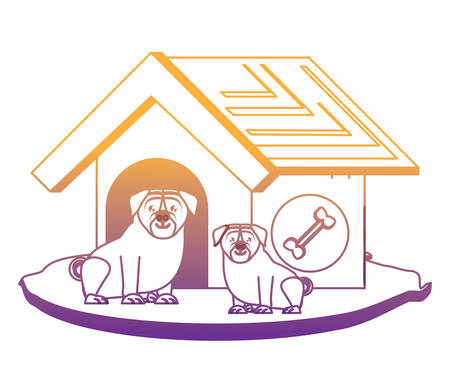 cute dog house with pugs over white background, vector illustration