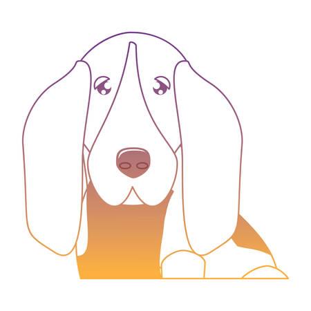cute basset hound dog icon over white background, vector illustration Vettoriali