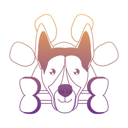 emblem with cute german shepherd and bone over white background, vector illustration Illustration