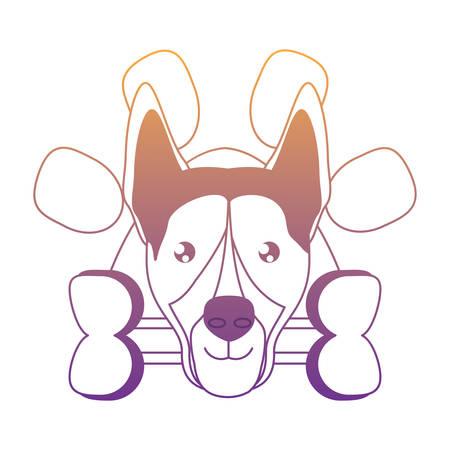 emblem with cute german shepherd and bone over white background, vector illustration Illustration