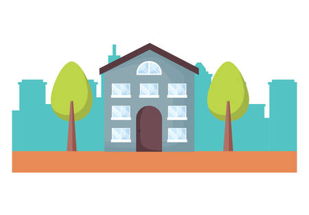 city landscape with modern house and trees over white background, vector illustration