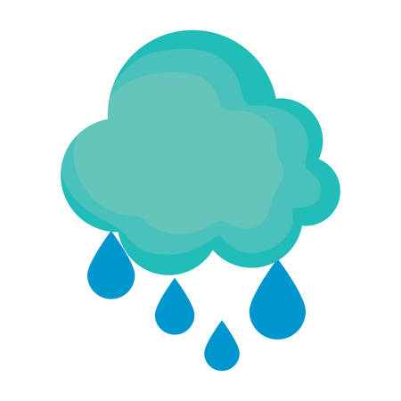 cloud and rainy drops over white background, vector illustration