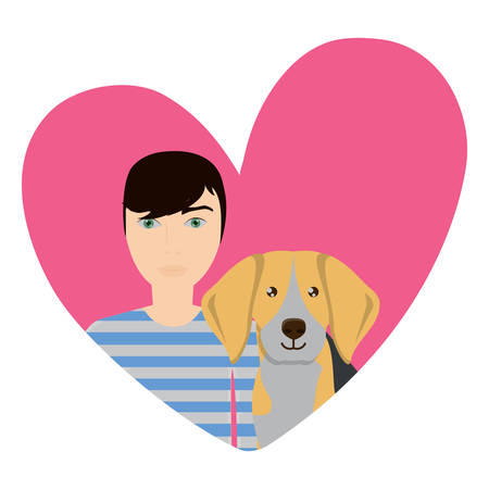 cute beagle dog and man in a heart over white background, vector illustration Illustration