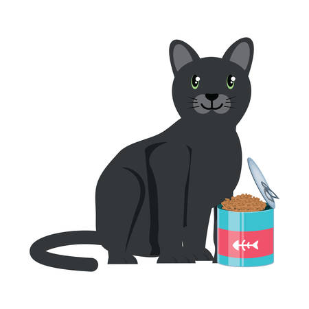 cute cat with food can over white background, vector illustration