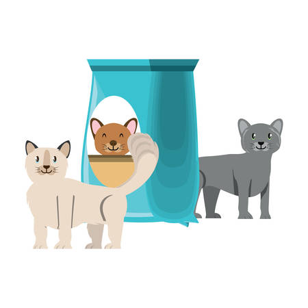 cute cats with food bag over white background, vector illustration