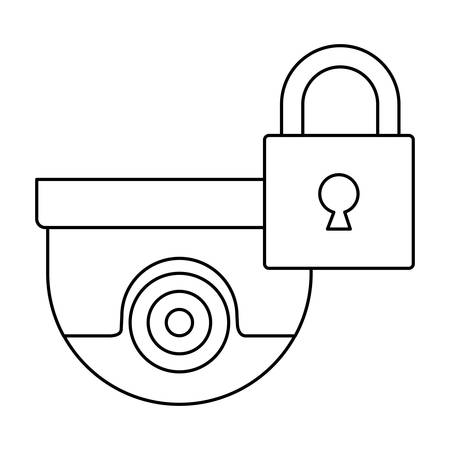 padlock and security camera icon over white background, vector illustration