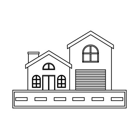 maison moderne et route sur fond blanc, illustration vectorielle