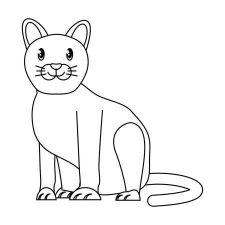 cute cat icon over white background, vector illustration Ilustração