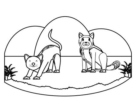 cute cats on the grass over white background, vector illustration