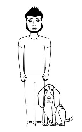 cartoon young man with cute basset hound dog over white background, vector illustration