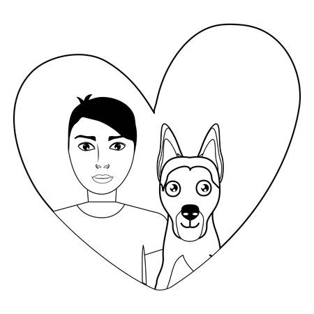 cute german shepherd dog and man in a heart over white background, vector illustration Illustration