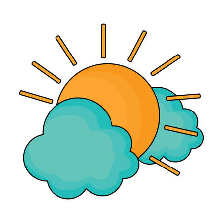 sun and clouds over white background, vector illustration  イラスト・ベクター素材